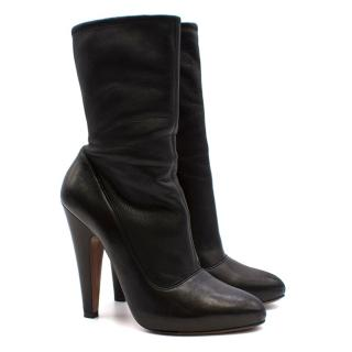 Alaia Black Leather High Heel Boots