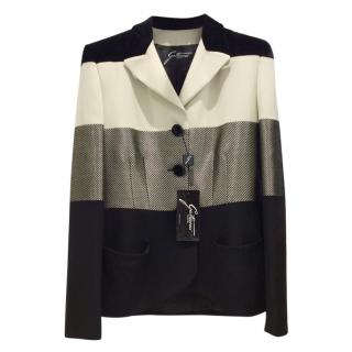 Gattinoni Cream/Black Wool, Silk, Velvet Jacket