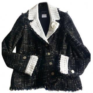 Chanel black white tweed jacket new