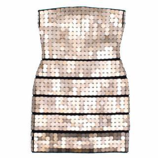 Herve Leger Minikleid Mit Goldenen Quadraten Dress