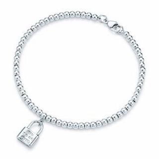 Tiffany & Co mini lock in sterling silver beaded bracelet