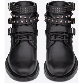 Saint Laurent black calfskin ranger ankle boots