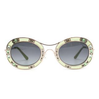Valentino Venezia Green Embellished Sunglasses
