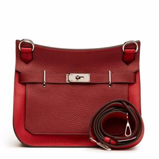 Hermes Rouge Casaque Clemence Leather Two-Tone Jypsiere 31