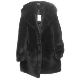 Diane Von Furstenberg Black faux fur Patti coat brand new