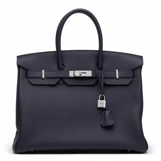 Hermes Blue Nuit Togo Leather Birkin 35cm