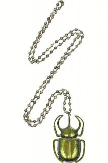 BOTTEGA VENETA Sterling silver scarab beetle necklace