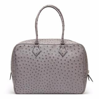 Hermes Gris Agate Ostrich Leather Plume 32cm