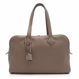 Hermes Victoria II Etoupe Brown Taurillion Togo Bag