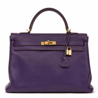 Hermes Violet Togo Leather Kelly 35cm Retourne