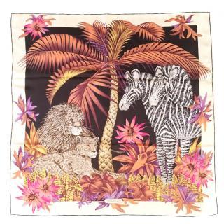 SALVATORE FERRAGAMO Jungle print silk square scarf 90 cm