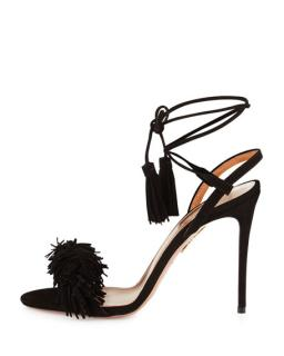 Aquazurra Black Suede Wild Things Sandals