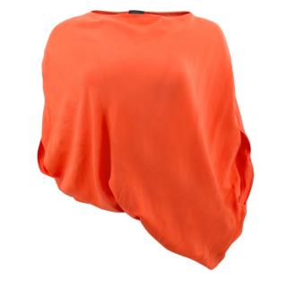 Halston Orange Boxy Cape Top
