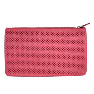 Alaia Pink Perforated Leather Clutch