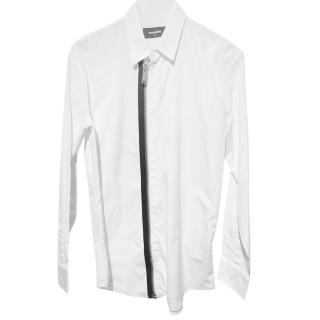 DSquared White Zip Front Shirt
