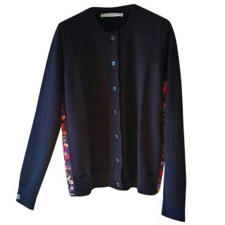 Givenchy Black wool cardigan with pansy trim