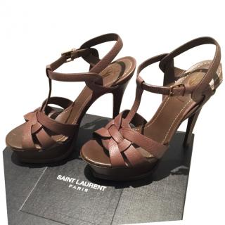 YSL Tribute Brown Leather  Sandals