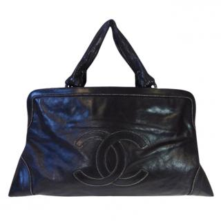 Chanel black leather CC tote