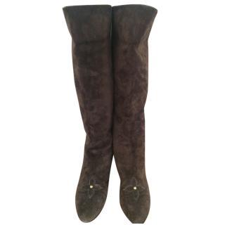 Louis Vuitton long brown suede boots