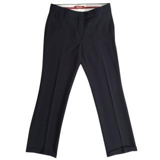 MAX MARA STUDIO black crepe crop slim fit trousers