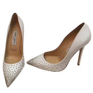 Jimmy Choo Anouk White Studded Shoes
