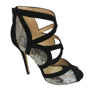 Jimmy Choo Tempest black and silver sandals