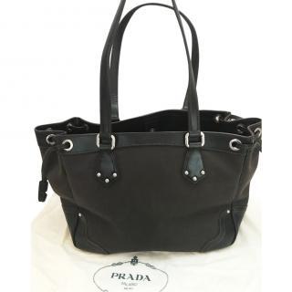 Prada brown canvas/leather handbag