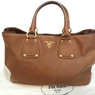 Prada tan leather tote bag