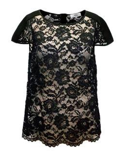 Tibi Black Lace Sheer Top