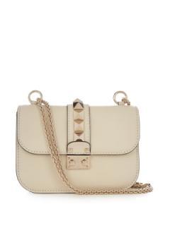 Valentino Cream Grained Leather Lock Shoulder Bag - Small
