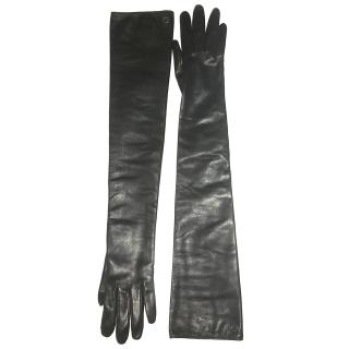 Gucci Black Long Leather Gloves
