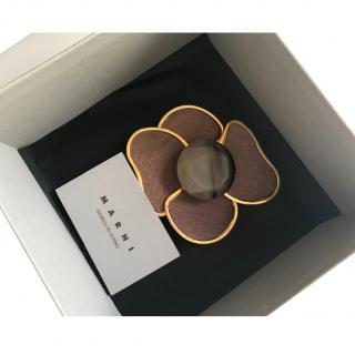 Marni fur flower brooch