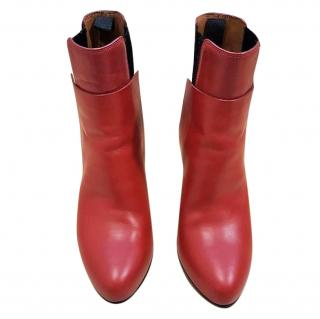 Balenziaga red leather ankle boots