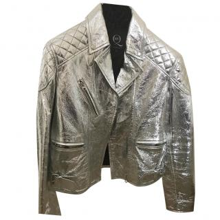 MCQ Alexander McQueen silver leather jacket