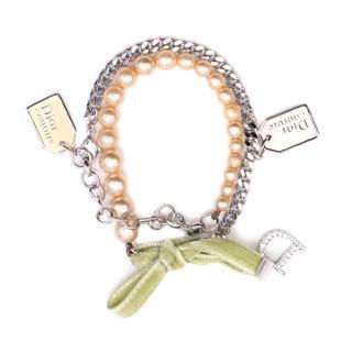 Christian Dior Couture Velvet Bow and Pearl Bracelet/Choker