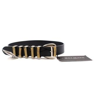 Balmain Leather and Steel Springs Belt