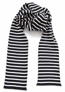 Saint Laurent black & white striped wool blend scarf