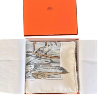 HERMES Christophe Colomb silk square printed scarf 90 cm