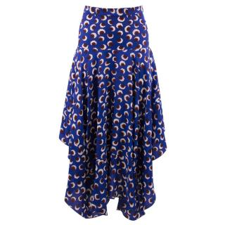 Stella Mccartney Poppy Blue Floral Printed Silk Long Skirt