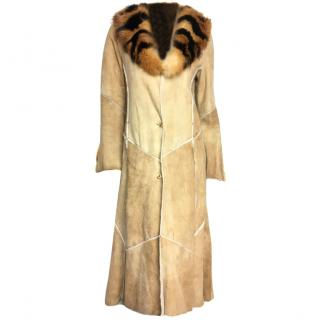 Roberto Cavalli shearling coat with fur collar