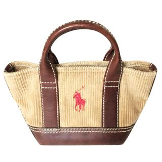 Ralph Lauren mini bag in corduroy and leather