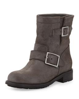 NEW Jimmy Choo Youth Shimmer Suede Biker Boot in Mist color