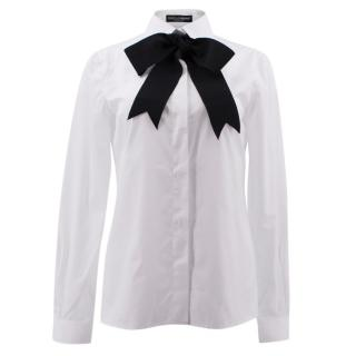 Dolce & Gabbana White Shirt with Bow