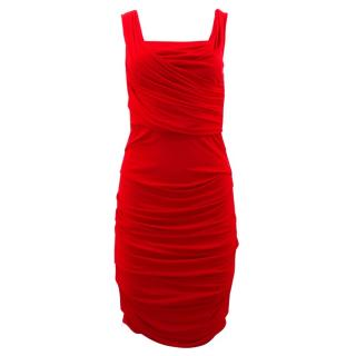 Dolce & Gabbana Red Ruched Stretch Satin Dress