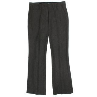 Prada Grey Tweed Straight Trousers