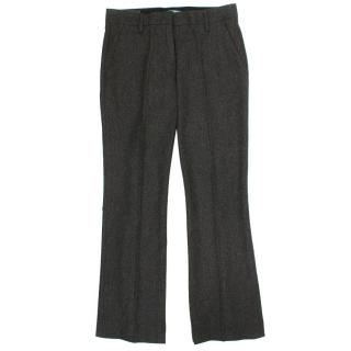 Prada Grey Tweed Straight Trousers