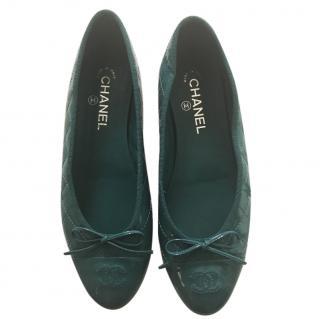 Chanel flat  blue green pumps