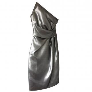 HALSTON Metallic Party Dress