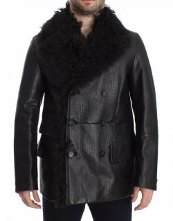 Dolce & Gabbana Black Lambskin Leather Double Breasted Coat