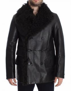 Dolce & Gabbana Black Lambskin Leather Double Breasted Coat